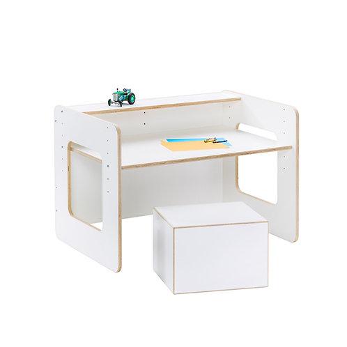 Schulstart Paket weiß (Schreibtisch, Sitzwürfel und Bastelbrett)