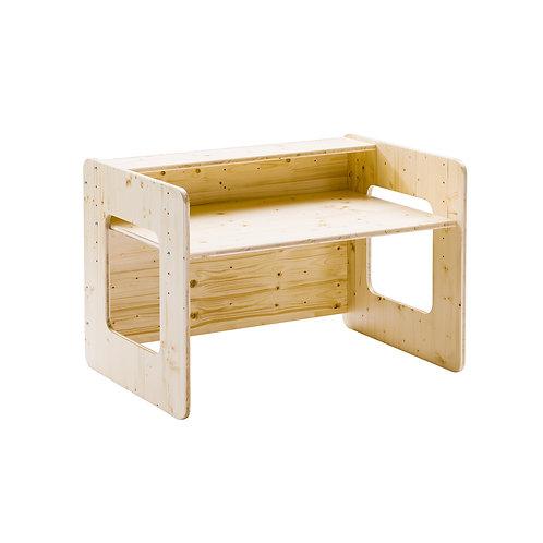 Schulstart Paket Vollholz lackiert (Schreibtisch, Sitzwürfel und Bastelbrett)