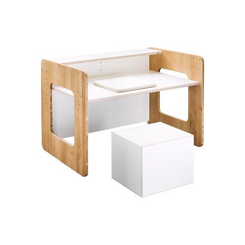 Schulstart Paket Eiche und weiß (Schreibtisch, Sitzwürfel und Bastelbrett)