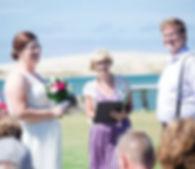 Trudy McAuslin, Beach, Bride, Groom, Sea, Mangawhai wedding, Bride Natasha Wilson,Groom Alex Wilson,Smiles,outside wedding,, sky