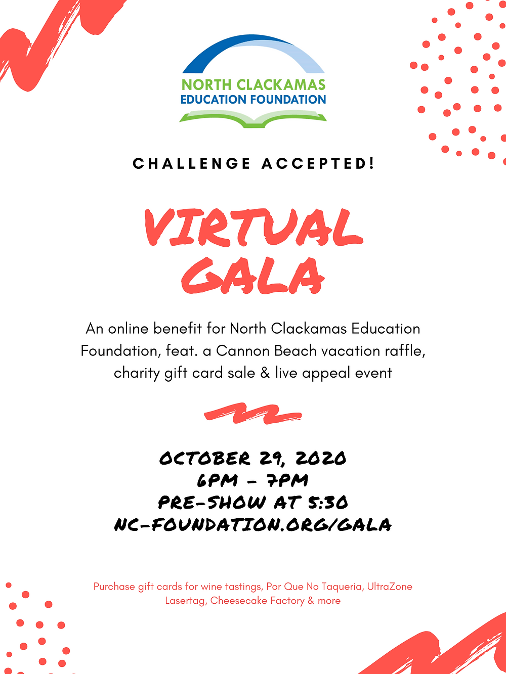 North Clackamas Education Foundation's virtual gala will take place on Oct. 29, 2020.
