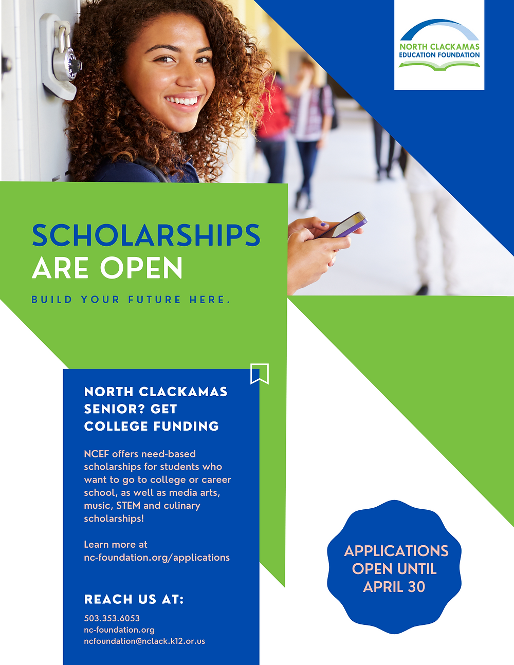 NCSD Students can get 2021 scholarships for college and trade school from NCEF! Applications are open until April 30.