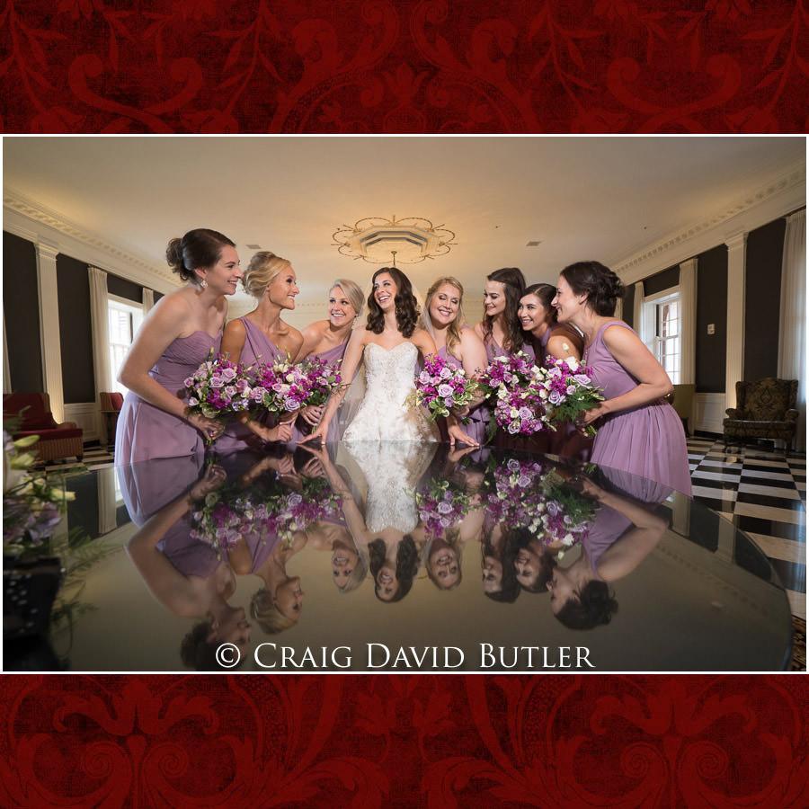 Bride Bridesmaid pose photos - Dearborn Inn Wedding Photo- Detroit Michigan Wedding Photographer - CDB Studios
