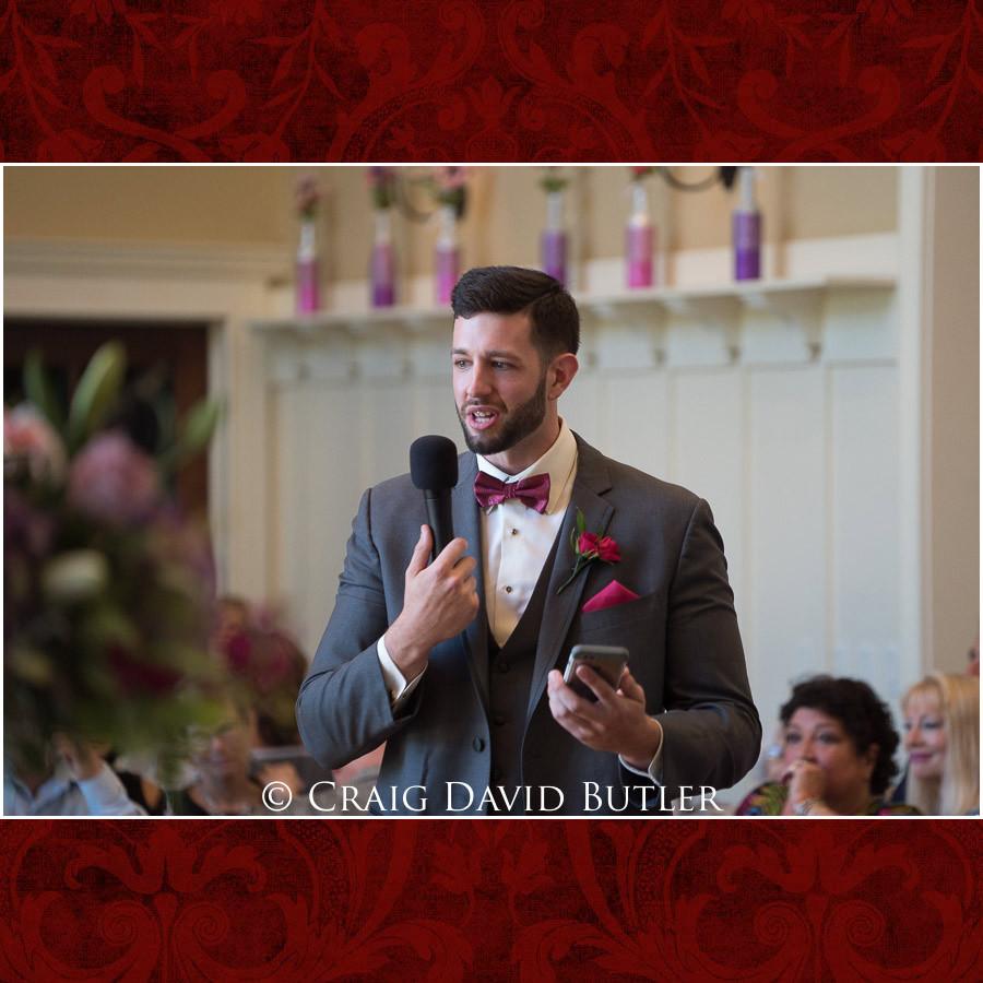 Best Man toast Clarkston Wedding Photographer - Oakhurst CC, Craig David Butler