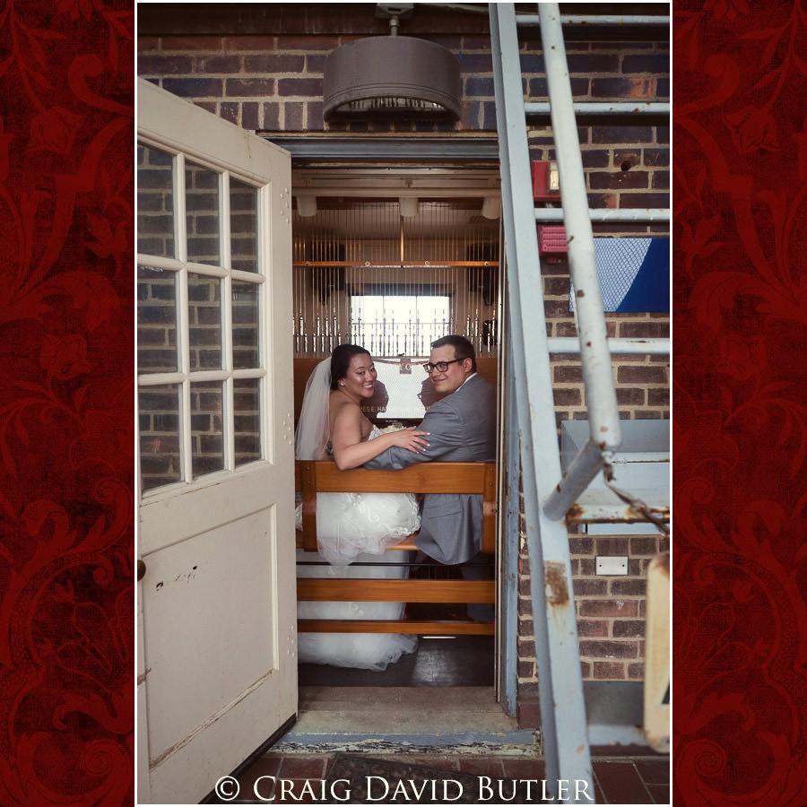 Playing the organ - Top of the bell tower - Wedding Photos, Michigan League, St. Francis Azizi, Ann Arbor MI, CDBStudios