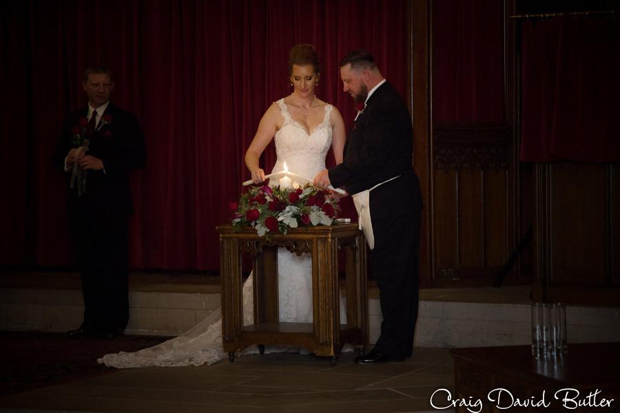 Unity Candle Masonic Temple Detroit MI- Wedding Photographer Craig David Butler