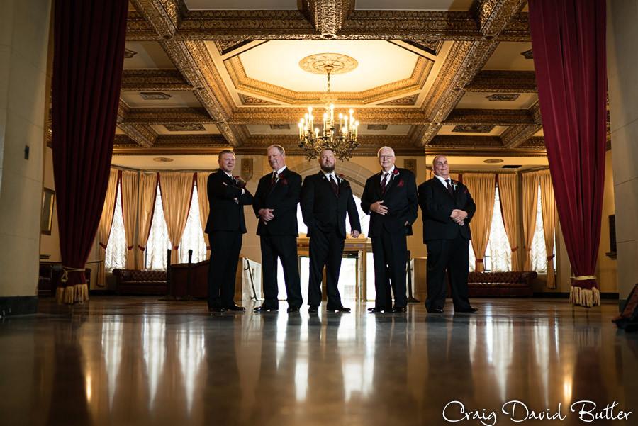 Groomsmen photo Masonic Temple Detroit MI- Wedding Photographer Craig David Butler