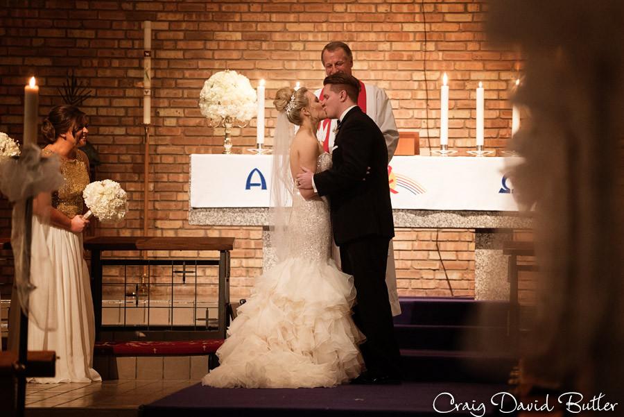 First Kiss, Wedding Ceremony , Winter wedding at the Reserve in Birmingham MI - Craig David Butler
