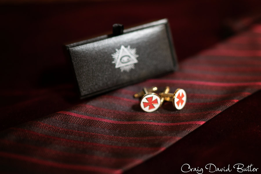 Grooms Cufflinks Masonic Temple Detroit MI- Wedding Photographer Craig David Butler
