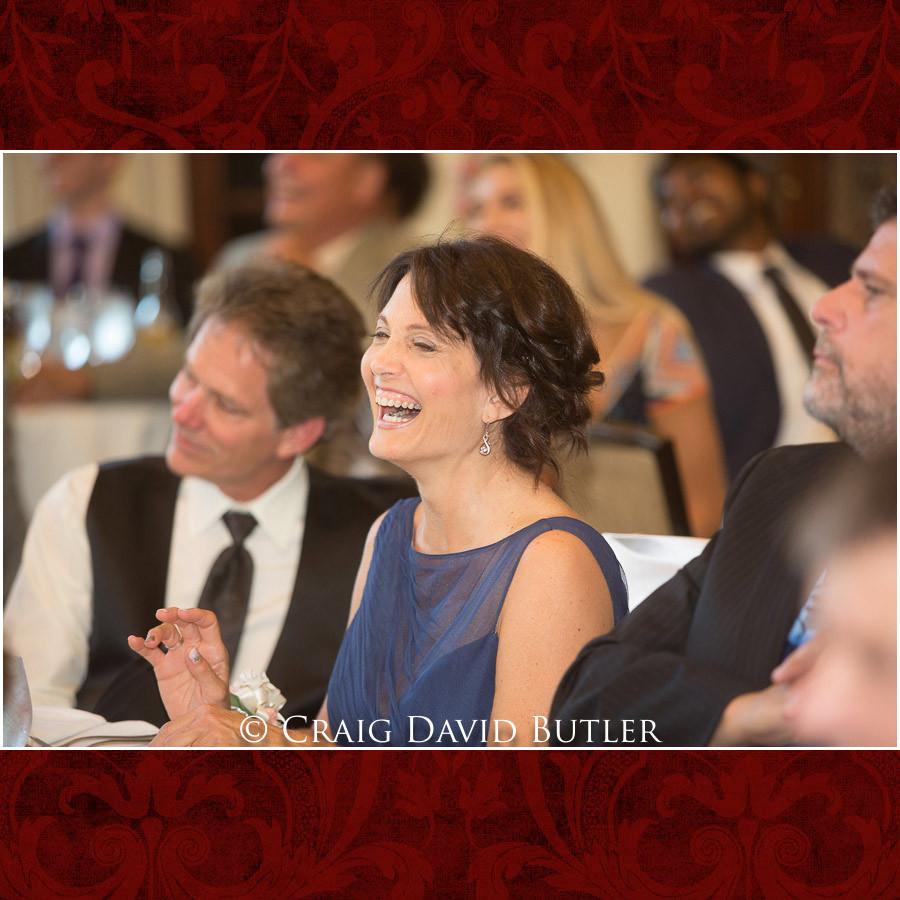 MOB reaction to toast Clarkston Wedding Photographer - Oakhurst CC, Craig David Butler