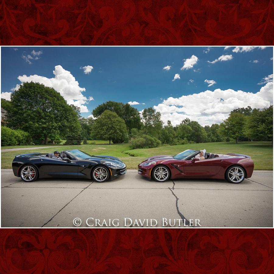 First Look - corvette Love - Michigan-Wedding-Photographer-Novi-CraigDavidButler