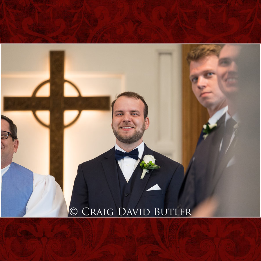 Groom Reaction Procession Wedding Photographer Michigan, St. Johns Plymouth, CDB Studios
