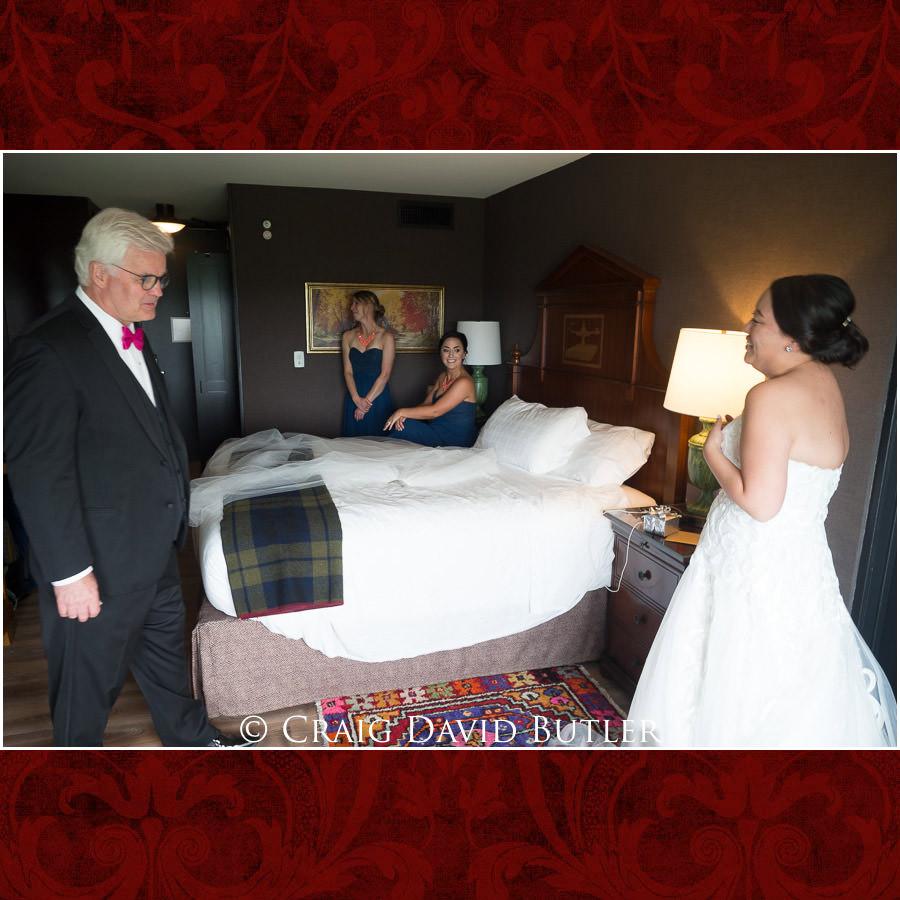 Bride Dad First Look - Wedding Photos, Michigan League, St. Francis Azizi, Ann Arbor MI, CDBStudios
