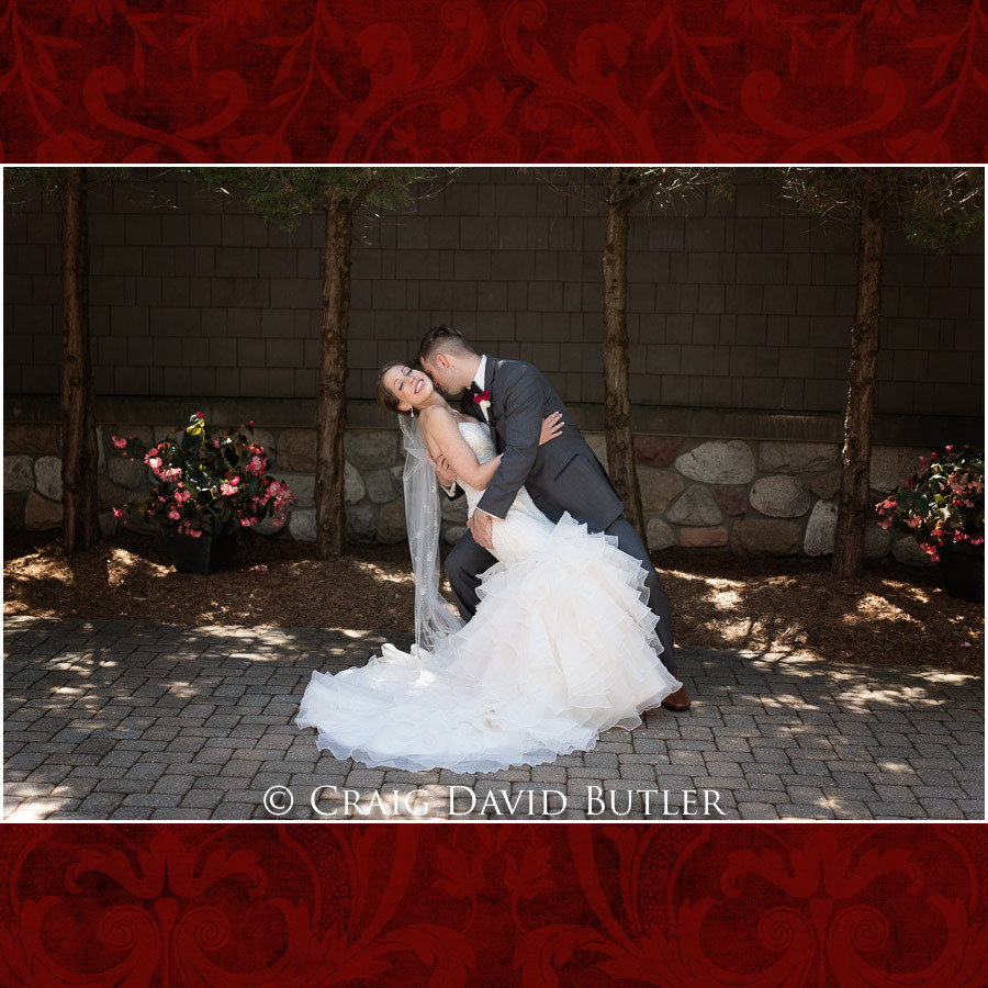 Bride & Groom Dip Photo Clarkston Wedding Photographer - Oakhurst CC, Craig David Butler