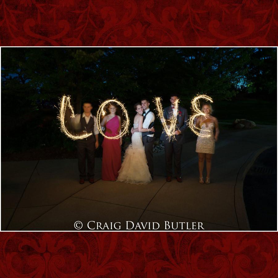 Long exposure wedding photos with sparklers Clarkston Wedding Photographer - Oakhurst CC, Craig David Butler