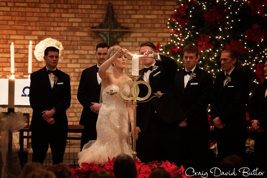 Unity Candle, Wedding Ceremony , Winter wedding at the Reserve in Birmingham MI - Craig David Butler