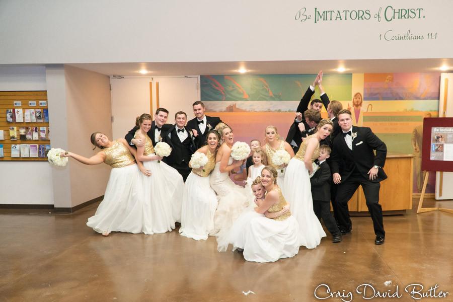 Fun Bridal Party photo, Winter wedding at the Reserve in Birmingham MI - Craig David Butler