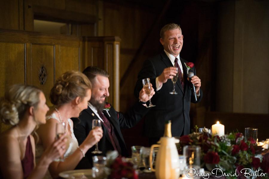Best Man Toast Masonic Temple Detroit MI- Wedding Photographer Craig David Butler