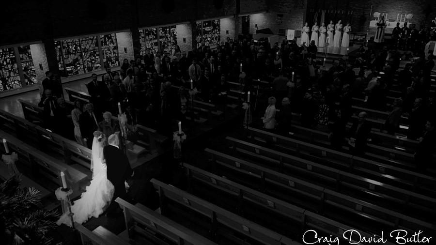 Bride Processional, Winter wedding at the Reserve in Birmingham MI - Craig David Butler