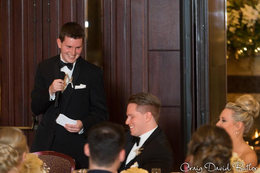 Best Man Speech, Winter wedding at the Reserve in Birmingham MI - Craig David Butler