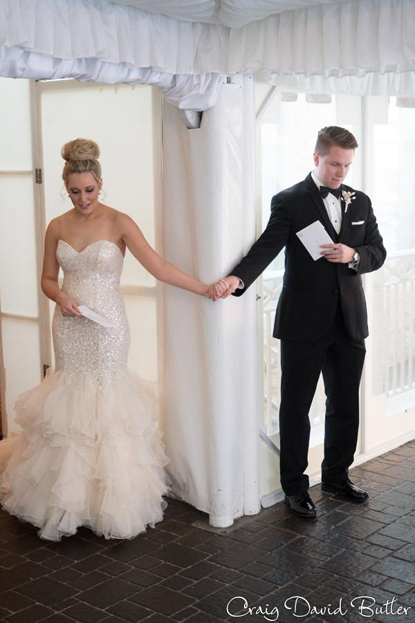 Bride & Groom Card Exchange, Winter wedding at the Reserve in Birmingham MI - Craig David Butler