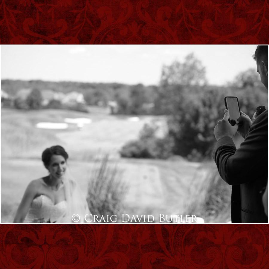 Groom taking photo of bride Clarkston Wedding Photographer - Oakhurst CC, Craig David Butler