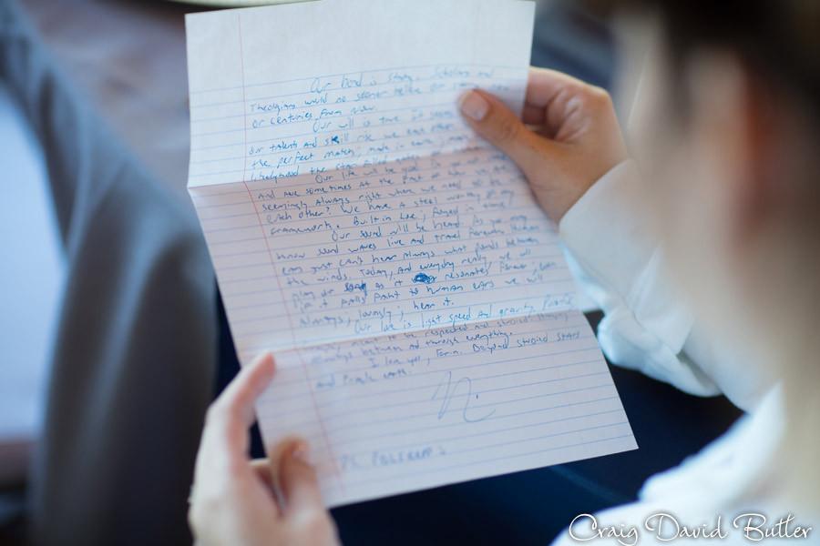 Letter to Bride Brighton Wedding Photographer - Craig David Butler - Oak Pointe CC