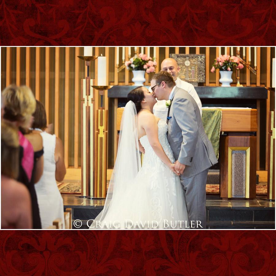First Kiss - Wedding Photos, Michigan League, St. Francis Azizi, Ann Arbor MI, CDBStudios