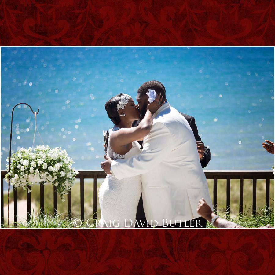 First Kiss - Detroit Wedding Photographer - South Haven Wedding, Heritage Hall Reception, WMU, Kalamazoo MI - CDB Studios
