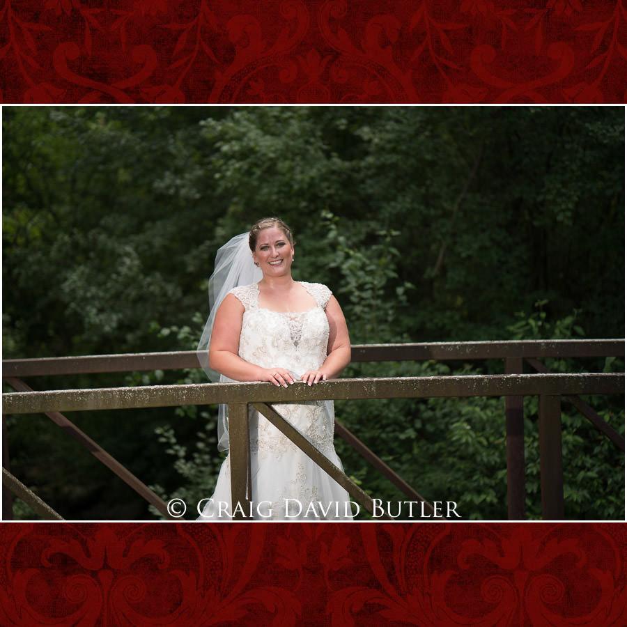Bride Poses bridge - Michigan-Wedding-Photographer-Novi-CraigDavidButler