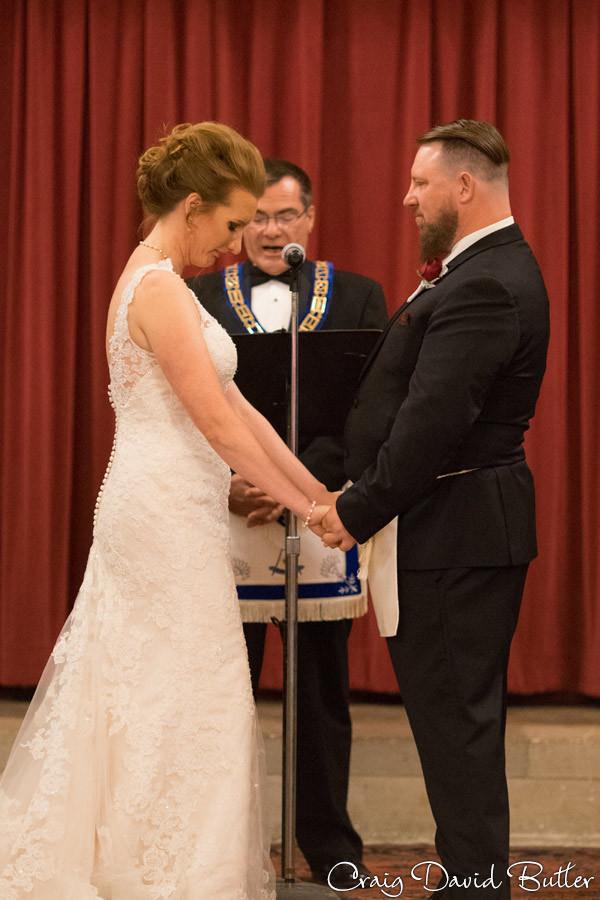 Bride reaction during vows Masonic Temple Detroit MI- Wedding Photographer Craig David Butler