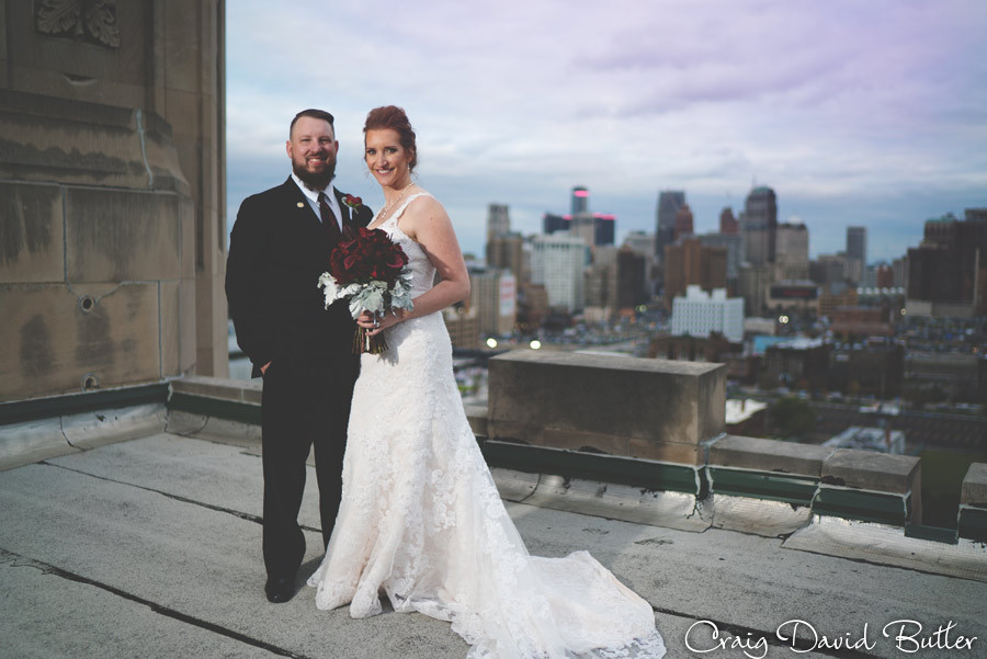 On top of the world - top of the Masonic Temple detroit skyline Masonic Temple Detroit MI- Wedding Photographer Craig David Butler