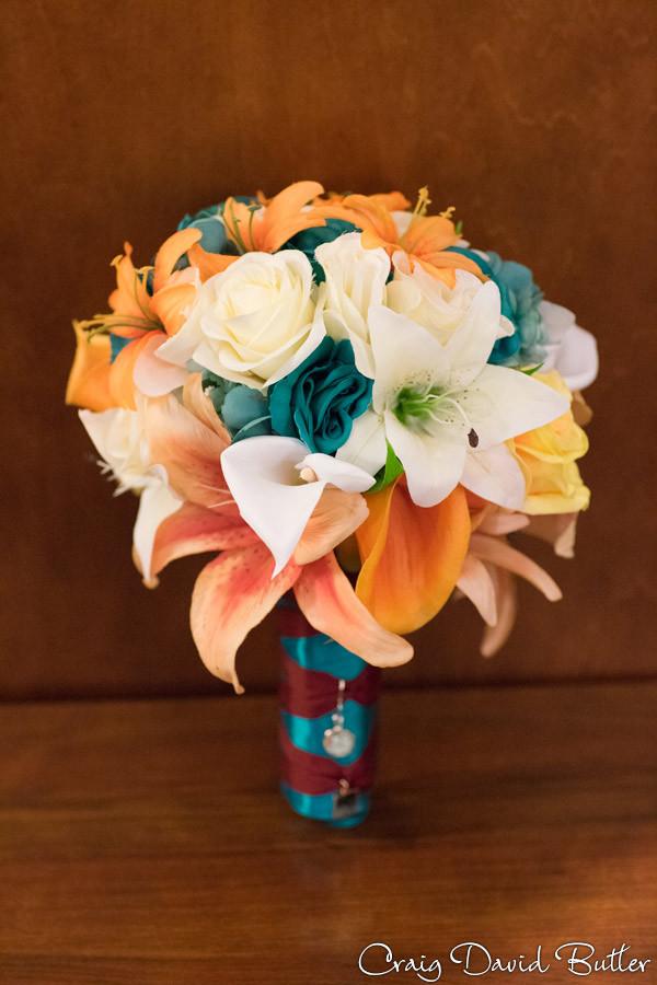 Colorful wedding brides bouquet