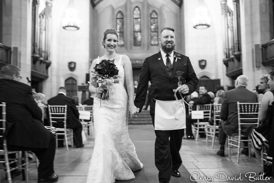 Bride Groom recessional Masonic Temple Detroit MI- Wedding Photographer Craig David Butler