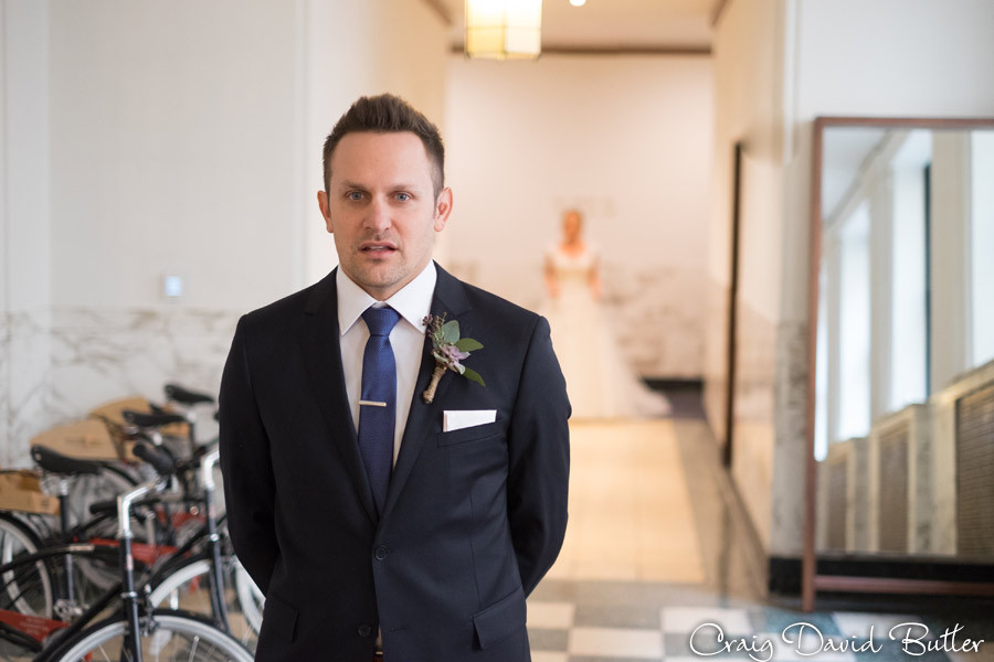 Groom First Look - Foundation Hotel - Detroit - MI Craig David Butler