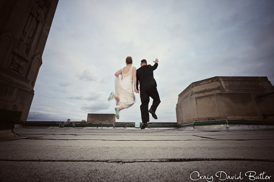 Jumping off the building Masonic Temple Detroit MI- Wedding Photographer Craig David Butler