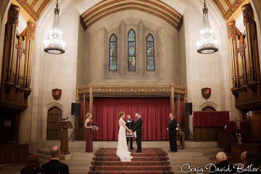 Ceremony in the Chapel Masonic Temple Detroit MI- Wedding Photographer Craig David Butler