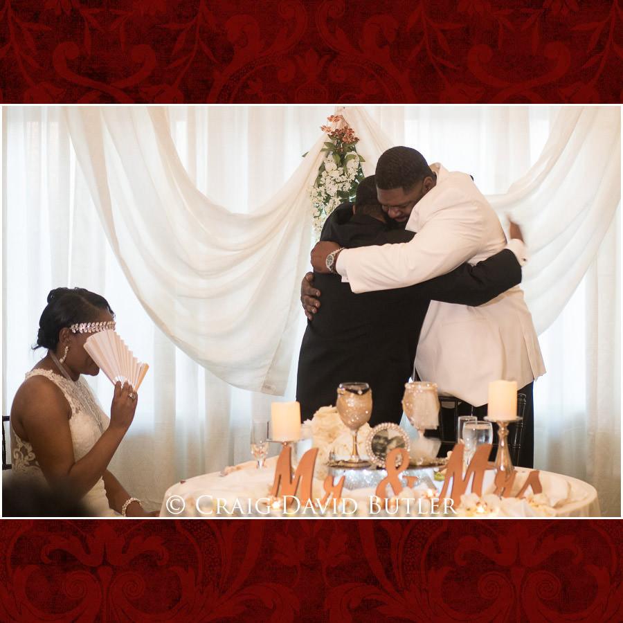 Best Man Hug Detroit Wedding Photographer - South Haven Wedding, Heritage Hall Reception, WMU, Kalamazoo MI - CDB Studios