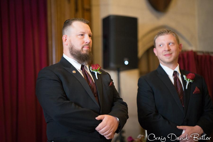 Groom reaction Masonic Temple Detroit MI- Wedding Photographer Craig David Butler