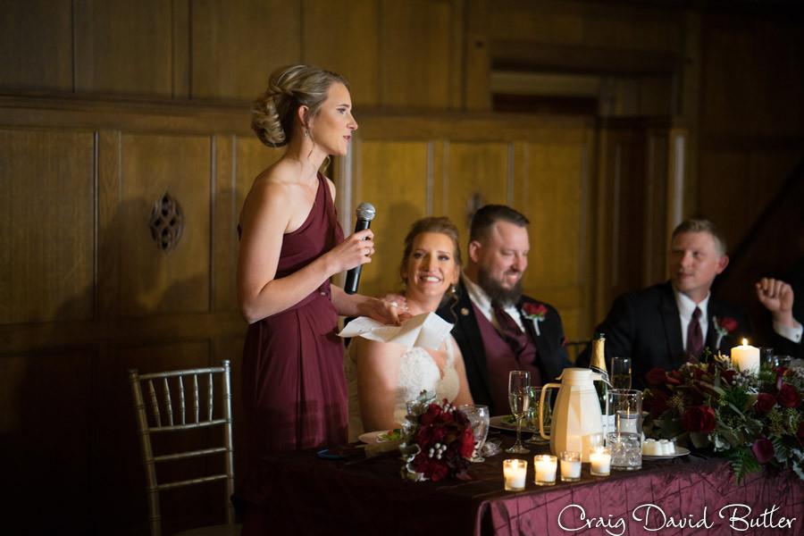 Maid of Honor toast Masonic Temple Detroit MI- Wedding Photographer Craig David Butler