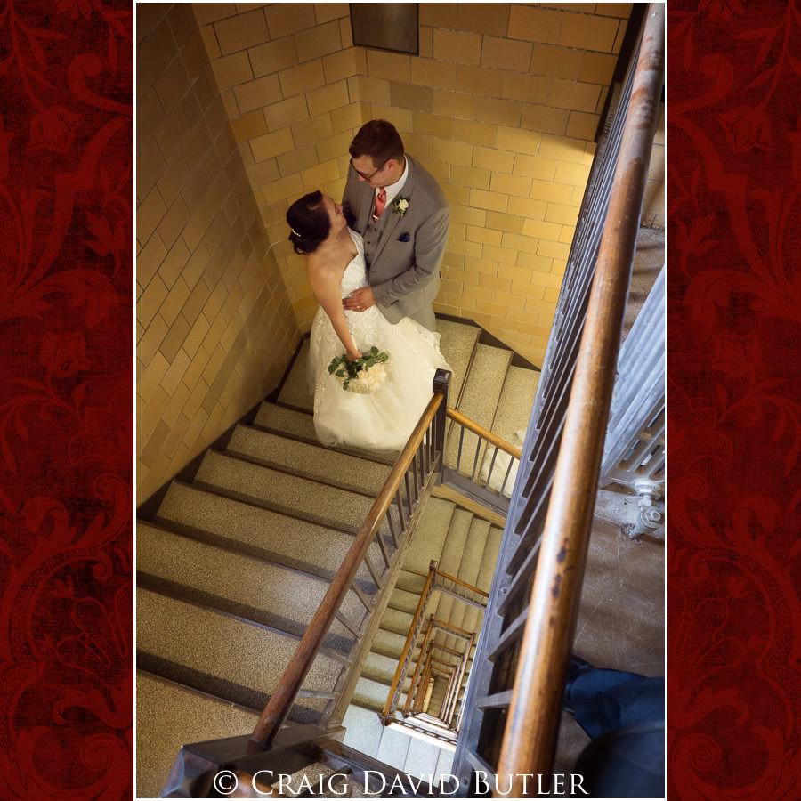 In the bell towner stairwell - Wedding Photos, Michigan League, St. Francis Azizi, Ann Arbor MI, CDBStudios