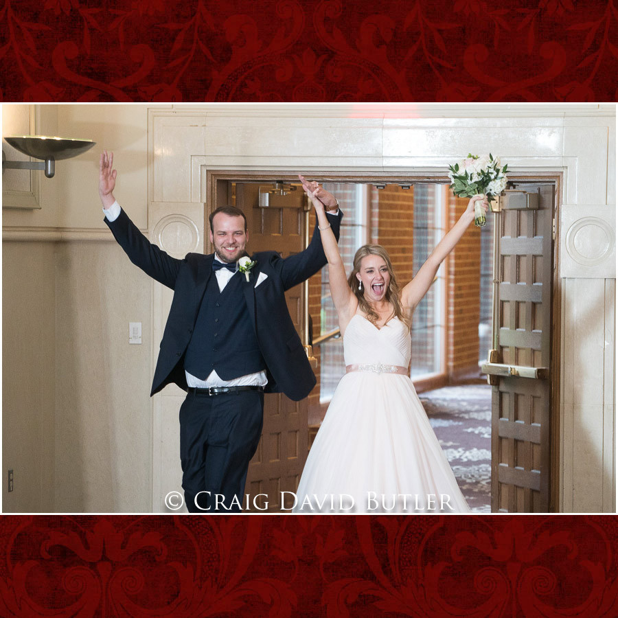 Reception Entrance Bride & Groom Wedding Photographer Michigan, St. Johns Plymouth, CDB Studios
