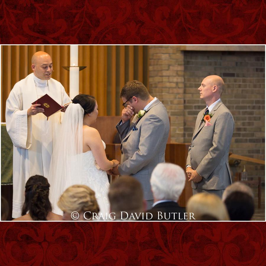 Groom Vows - Wedding Photos, Michigan League, St. Francis Azizi, Ann Arbor MI, CDBStudios