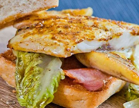 Grey mullet and bacon roll