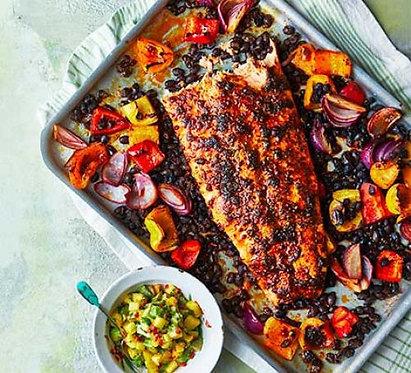 Blackened roast salmon with avocado & mango salsa
