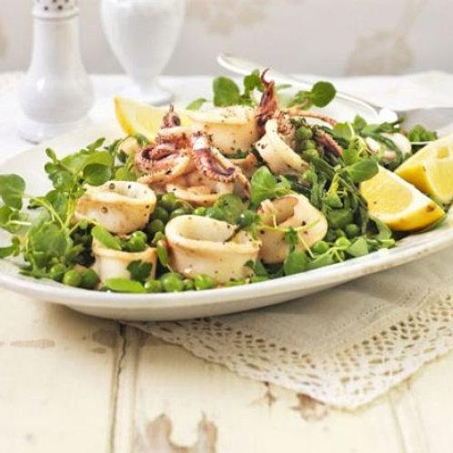 Squid, samphire & pea salad