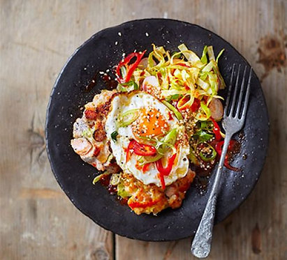 Korean fishcakes with fried eggs & spicy salsa