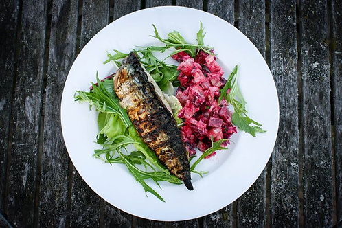 Grilled mackerel with beetroot and new potato salad