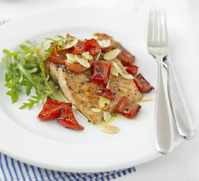 Trout with almonds & red peppers