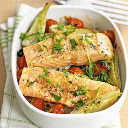 Baked salmon with fennel & tomatoes
